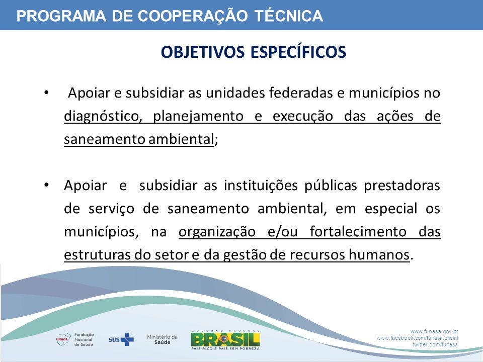www.funasa.gov.br www.facebook.com/funasa.oficial twitter.com/funasa Apoiar e subsidiar as unidades federadas e municípios no diagnóstico, planejament