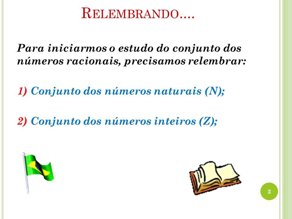 R ELEMBRANDO.... Para iniciarmos o estudo do conjunto dos números racionais, precisamos relembrar: 1) Conjunto dos números naturais (N); 2) Conjunto d