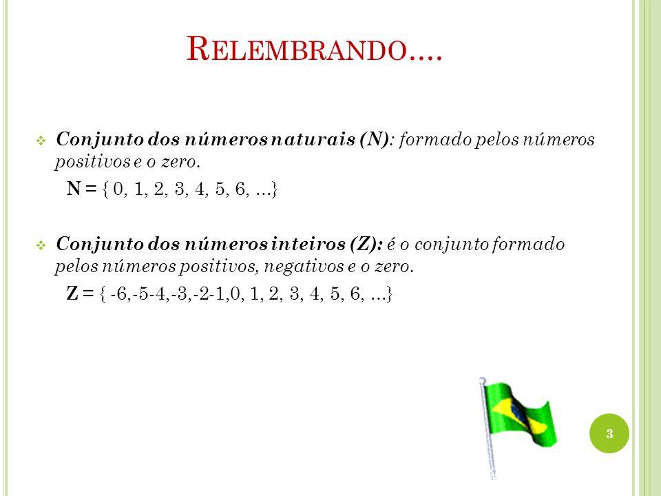R ELEMBRANDO....  Conjunto dos números naturais (N) : formado pelos números positivos e o zero. N = { 0, 1, 2, 3, 4, 5, 6,...}  Conjunto dos números