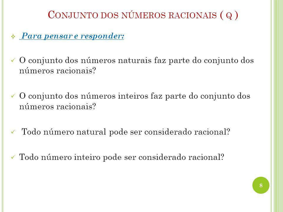  Para pensar e responder: O conjunto dos números naturais faz parte do conjunto dos números racionais? O conjunto dos números inteiros faz parte do c