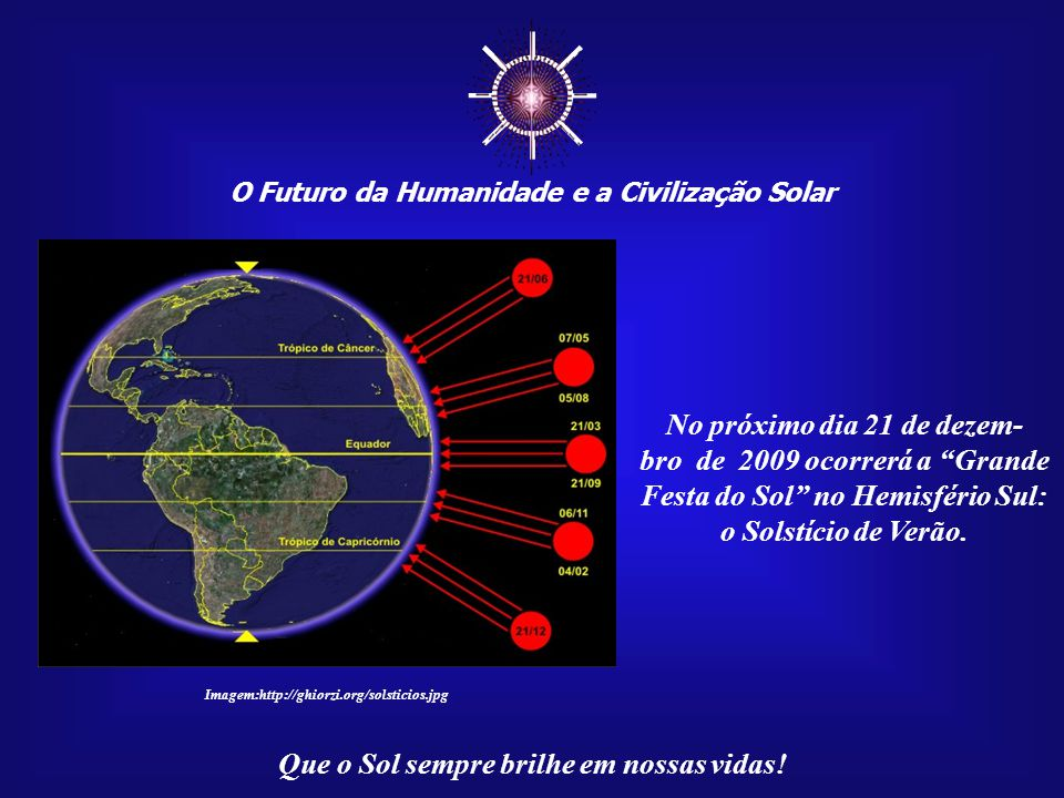 ☼ O Futuro da Humanidade e a Civilização Solar Que o Sol sempre brilhe em nossas vidas! Nossa vida cotidiana é regida pelo Sol, daí a importância de c
