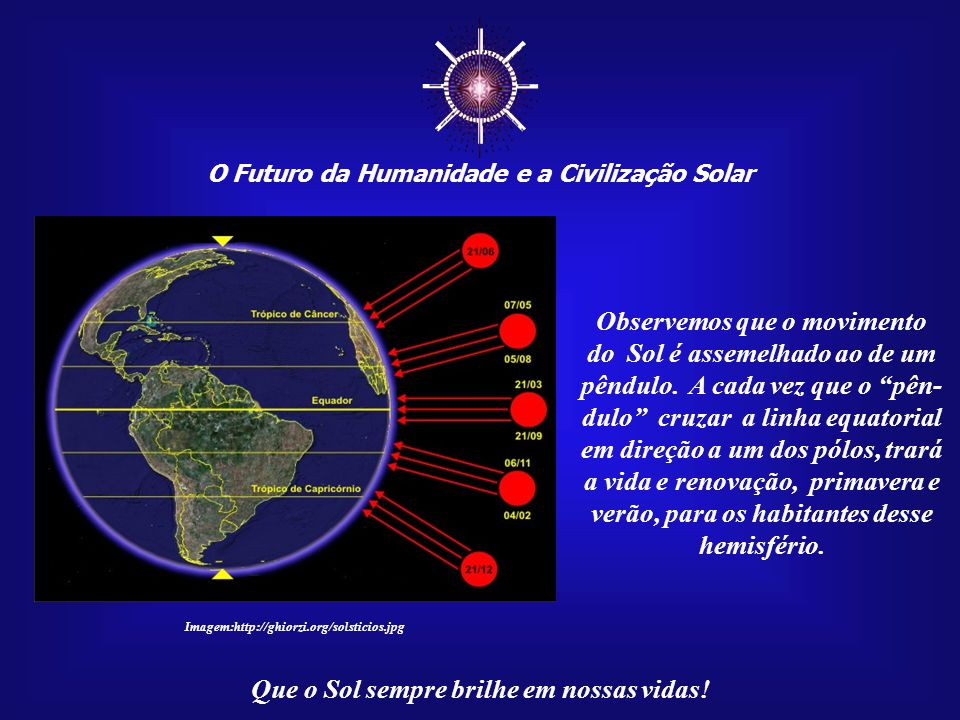 ☼ O Futuro da Humanidade e a Civilização Solar Que o Sol sempre brilhe em nossas vidas! No dia 21 de dezembro sai- remos da primavera e ingressa- remo