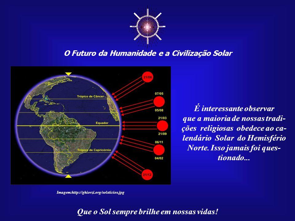 ☼ O Futuro da Humanidade e a Civilização Solar Que o Sol sempre brilhe em nossas vidas! Observemos que o movimento do Sol é assemelhado ao de um pêndu