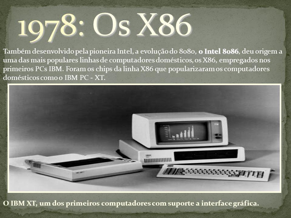 o Intel 8086 Também desenvolvido pela pioneira Intel, a evolução do 8080, o Intel 8086, deu origem a uma das mais populares linhas de computadores dom