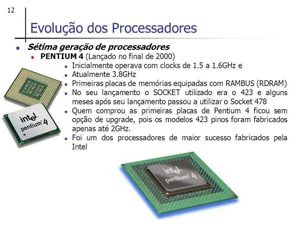 12 Sétima geração de processadores PENTIUM 4 (Lançado no final de 2000) Inicialmente operava com clocks de 1.5 a 1.6GHz e Atualmente 3.8GHz Primeiras