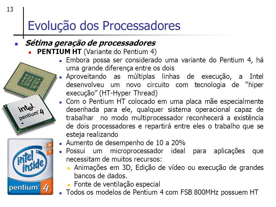 13 Sétima geração de processadores PENTIUM HT (Variante do Pentium 4) Embora possa ser considerado uma variante do Pentium 4, há uma grande diferença