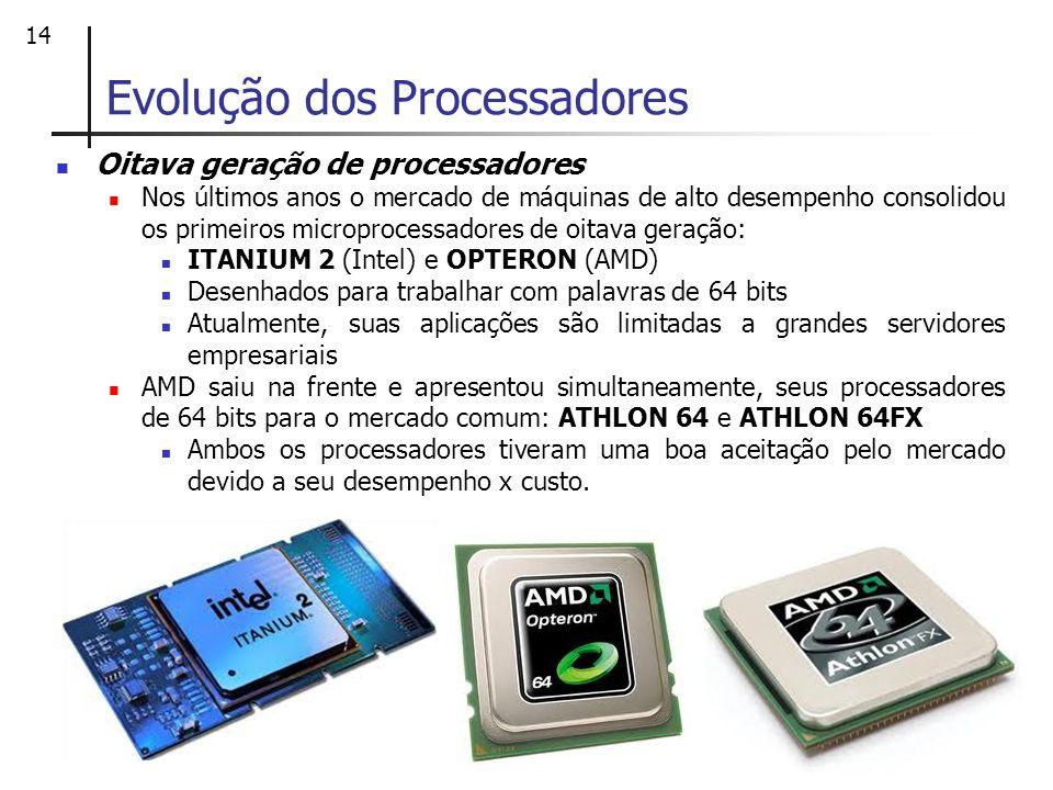 14 Oitava geração de processadores Nos últimos anos o mercado de máquinas de alto desempenho consolidou os primeiros microprocessadores de oitava gera