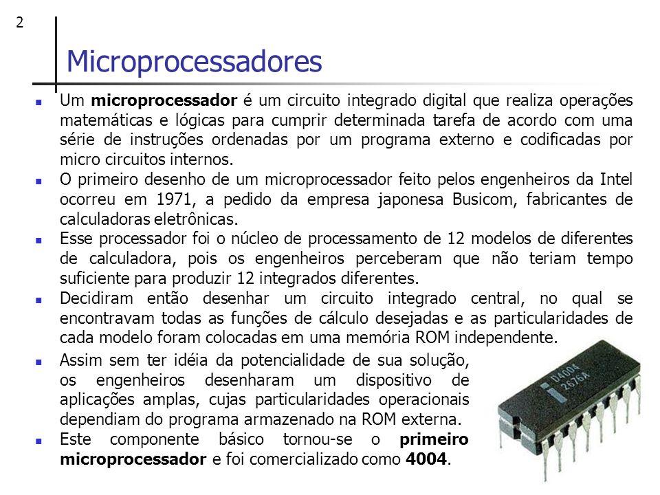 2 Microprocessadores Um microprocessador é um circuito integrado digital que realiza operações matemáticas e lógicas para cumprir determinada tarefa d