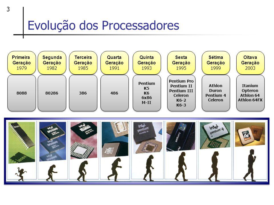 4 Evolução dos Processadores Primeira geração de processadores 8088: variação do 8086 (16 bits) Integrava o PC-XT Barramento externo de 8 bits.
