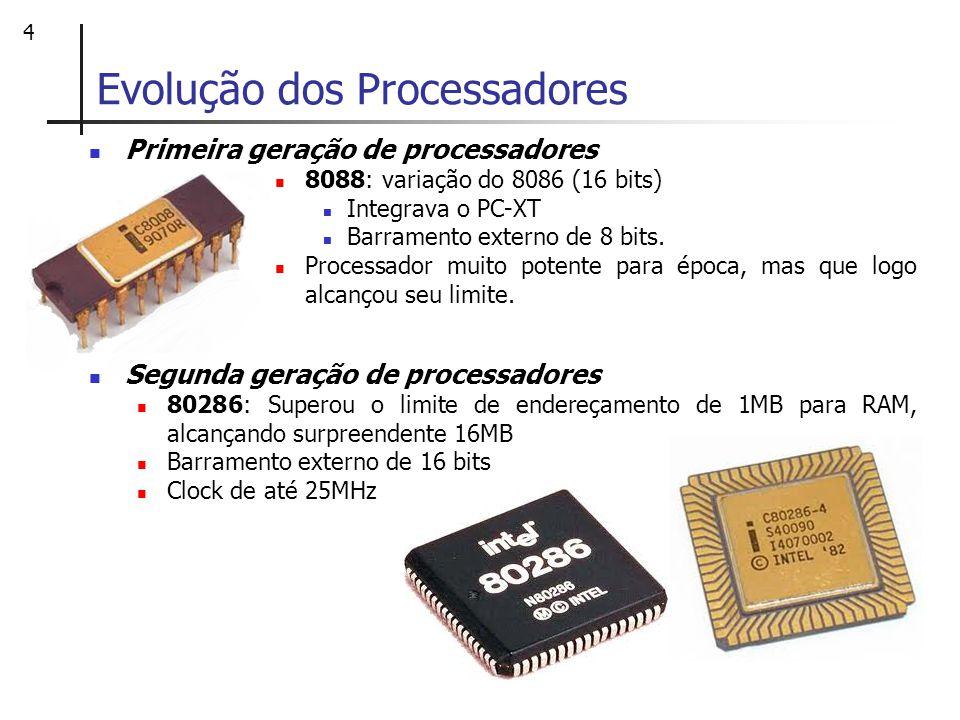 5 Evolução dos Processadores Terceira geração de processadores 80386: primeiro microprocessador de 32 bits Endereçamento de 4GB de RAM Modo de memória protegida que permite duas ou mais aplicações serem executadas simultaneamente, sem risco de conflitos entre leitura e escrita de memória de cada uma delas.