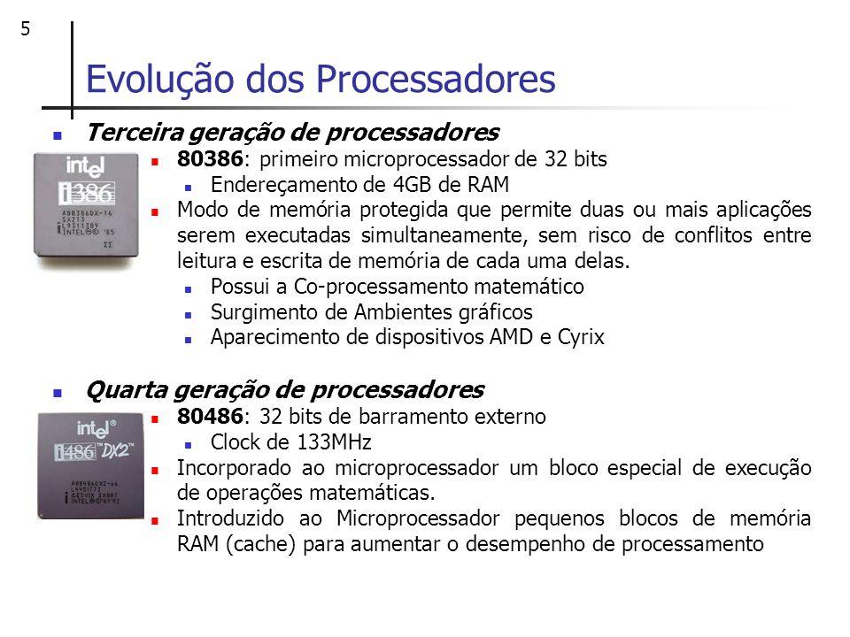 5 Evolução dos Processadores Terceira geração de processadores 80386: primeiro microprocessador de 32 bits Endereçamento de 4GB de RAM Modo de memória
