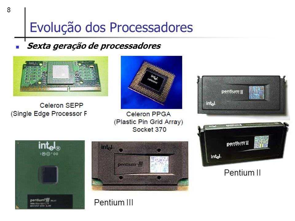 9 Evolução dos Processadores Sétima geração de processadores Em 23 de Junho de 1999 a AMD apresentou o primeiro processador dessa geração: o ATHLON Elevado desempenho em operações ; Superou a Intel por um curto período Assim como a Intel produziu processadores Celeron como versões de menor custo e menor desempenho do Pentium II e Pentium III, a AMD produziu a partir do ATHLON T-Bird, o AMD DURON.