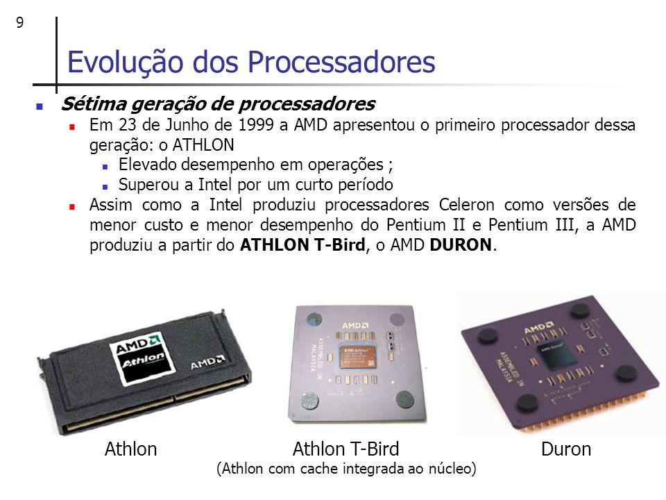 10 Evolução dos Processadores Sétima geração de processadores ATHLON XP Em outubro de 2001, foram lançadas as versões do Palomino voltadas para desktops, que receberam o nome comercial de: Athlon XP (Extreme Performance).