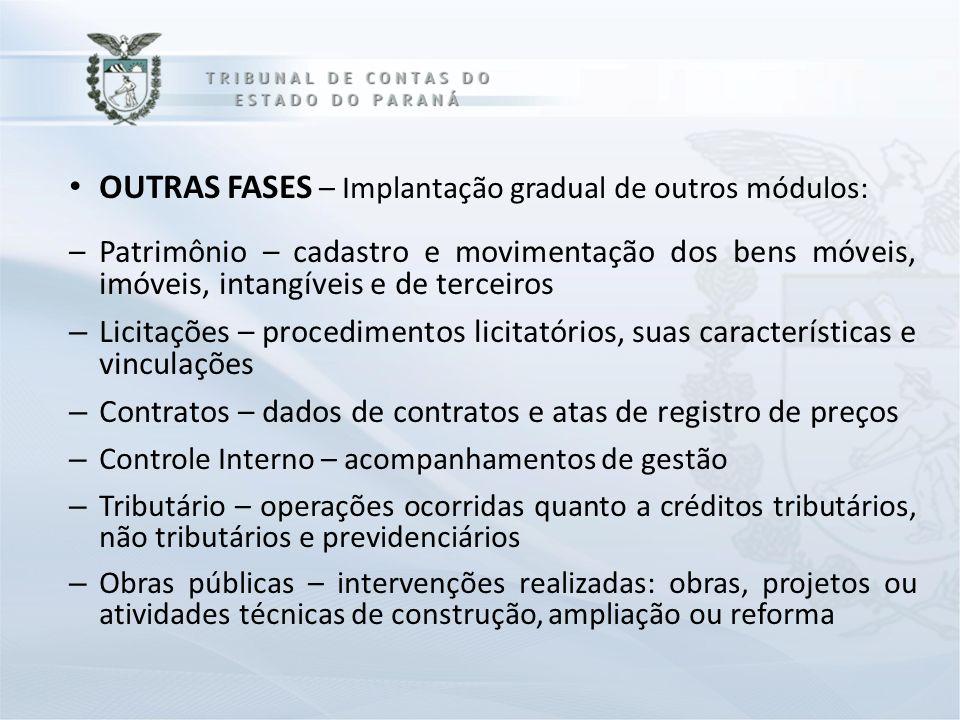 OUTRAS FASES – Implantação gradual de outros módulos: –Patrimônio – cadastro e movimentação dos bens móveis, imóveis, intangíveis e de terceiros – Lic