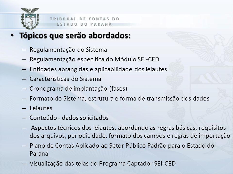 Tópicos que serão abordados: Tópicos que serão abordados: – Regulamentação do Sistema – Regulamentação específica do Módulo SEI-CED – Entidades abrang
