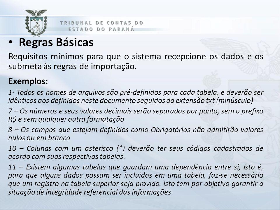 Regras Básicas Requisitos mínimos para que o sistema recepcione os dados e os submeta às regras de importação. Exemplos: 1- Todos os nomes de arquivos