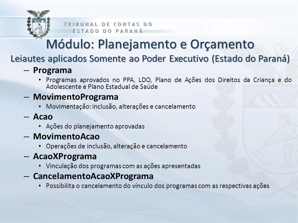 Módulo: Planejamento e Orçamento Leiautes aplicados Somente ao Poder Executivo (Estado do Paraná) – Programa Programas aprovados no PPA, LDO, Plano de