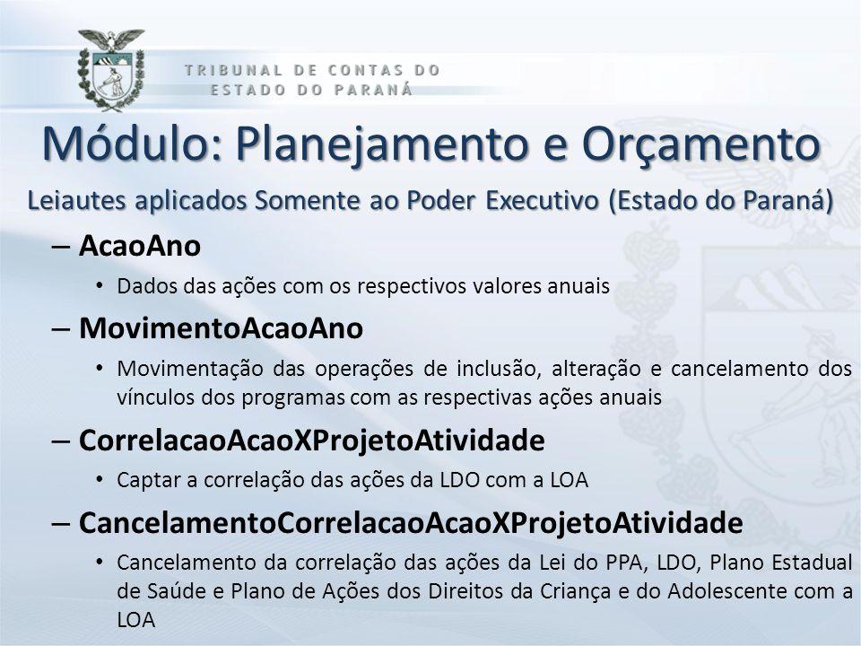 Módulo: Planejamento e Orçamento Leiautes aplicados Somente ao Poder Executivo (Estado do Paraná) – AcaoAno Dados das ações com os respectivos valores