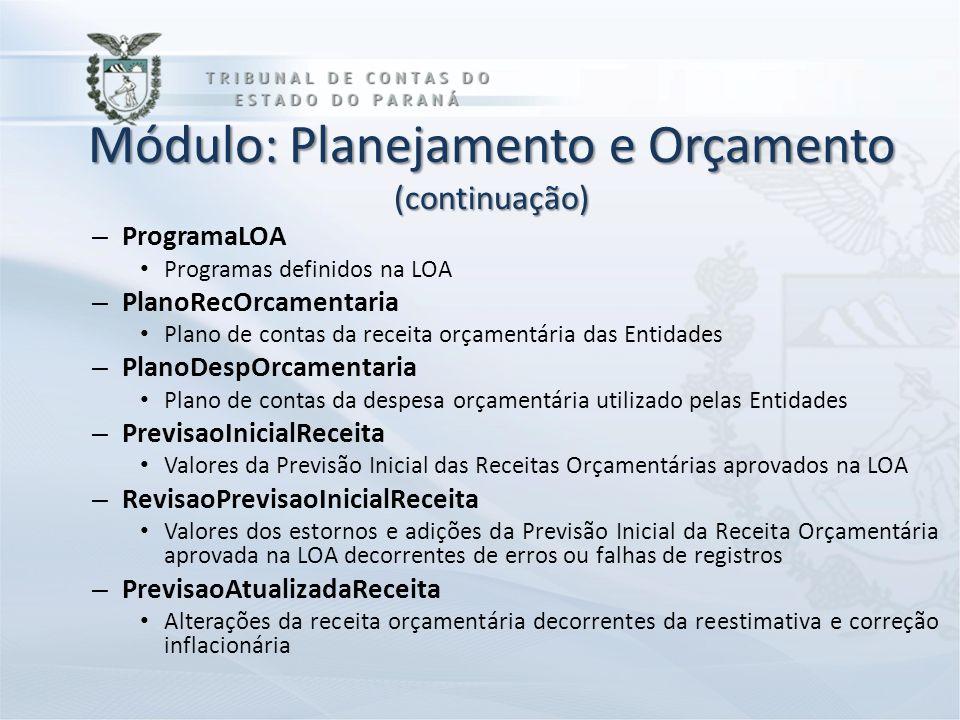 Módulo: Planejamento e Orçamento (continuação) – ProgramaLOA Programas definidos na LOA – PlanoRecOrcamentaria Plano de contas da receita orçamentária