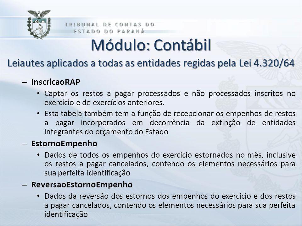 Módulo: Contábil Leiautes aplicados a todas as entidades regidas pela Lei 4.320/64 – InscricaoRAP Captar os restos a pagar processados e não processad