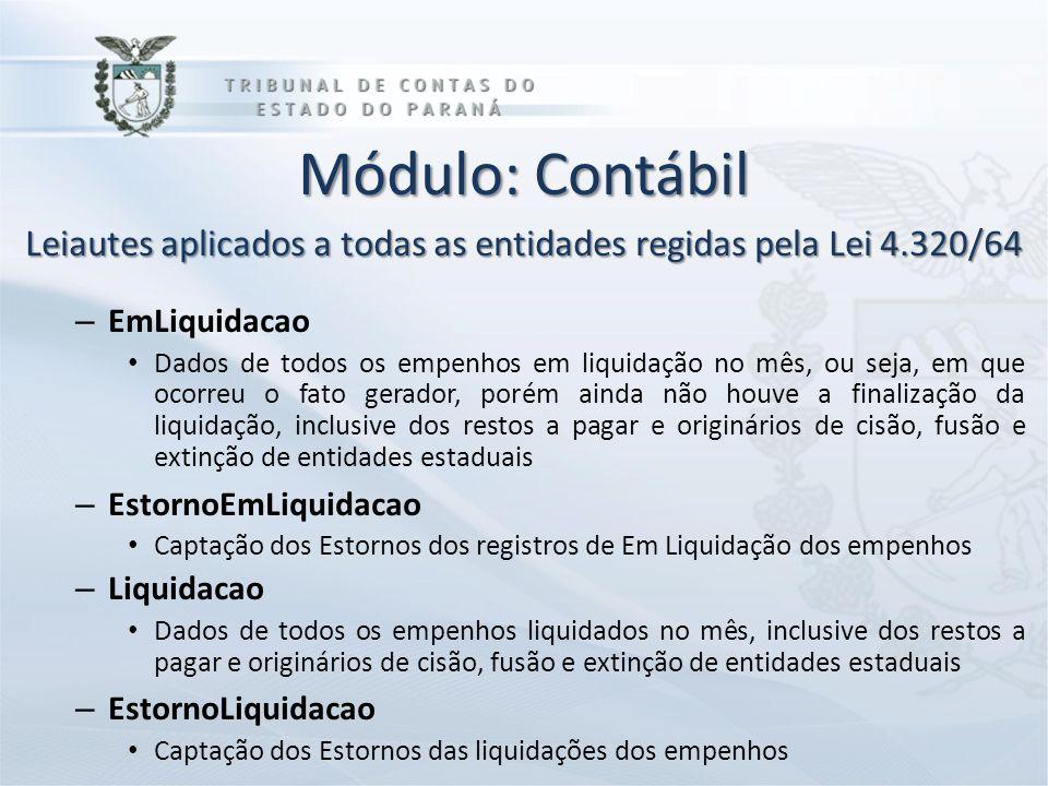 Módulo: Contábil Leiautes aplicados a todas as entidades regidas pela Lei 4.320/64 – EmLiquidacao Dados de todos os empenhos em liquidação no mês, ou