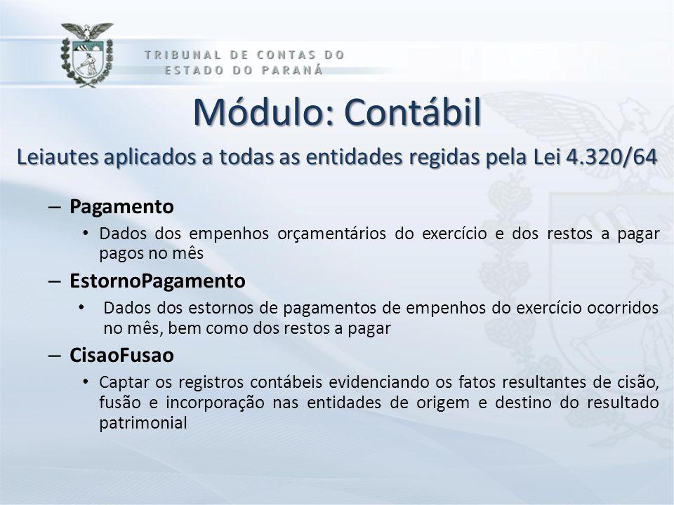 Módulo: Contábil Leiautes aplicados a todas as entidades regidas pela Lei 4.320/64 – Pagamento Dados dos empenhos orçamentários do exercício e dos res