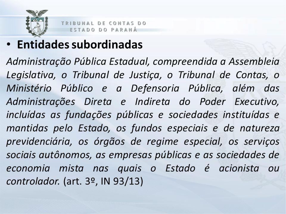 Entidades subordinadas Administração Pública Estadual, compreendida a Assembleia Legislativa, o Tribunal de Justiça, o Tribunal de Contas, o Ministéri