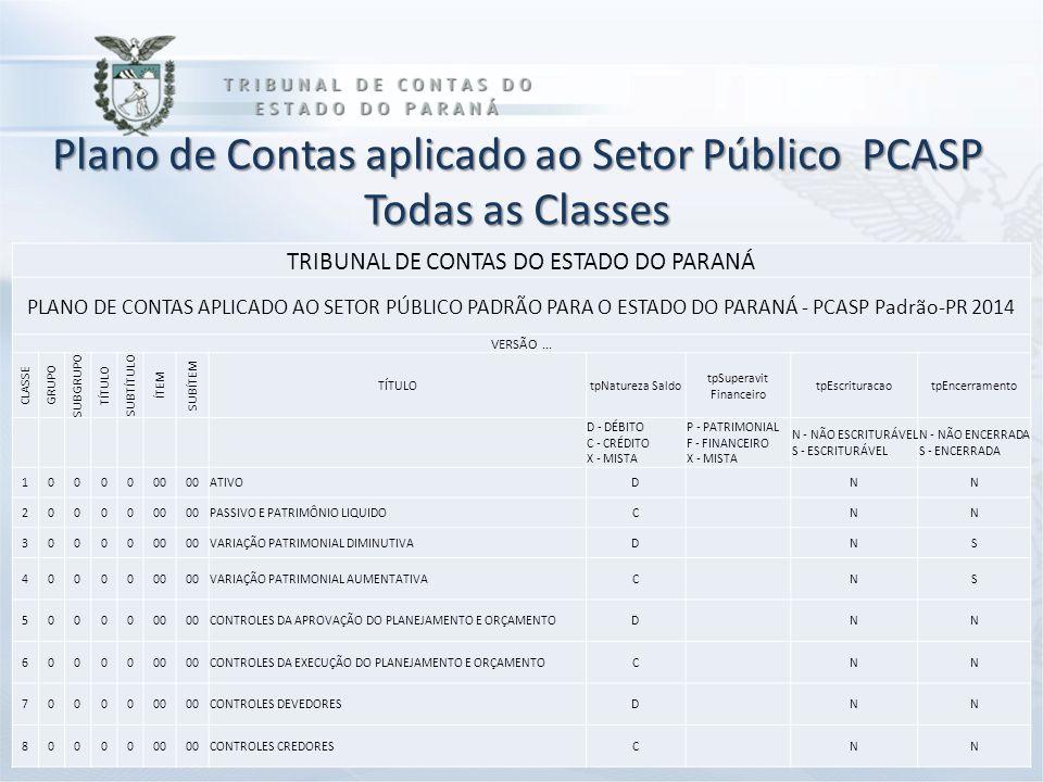 Plano de Contas aplicado ao Setor Público PCASP Todas as Classes TRIBUNAL DE CONTAS DO ESTADO DO PARANÁ PLANO DE CONTAS APLICADO AO SETOR PÚBLICO PADR