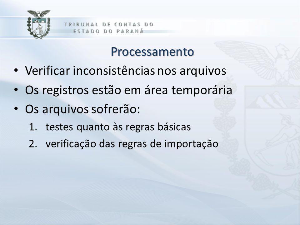 Processamento Verificar inconsistências nos arquivos Os registros estão em área temporária Os arquivos sofrerão: 1.testes quanto às regras básicas 2.v