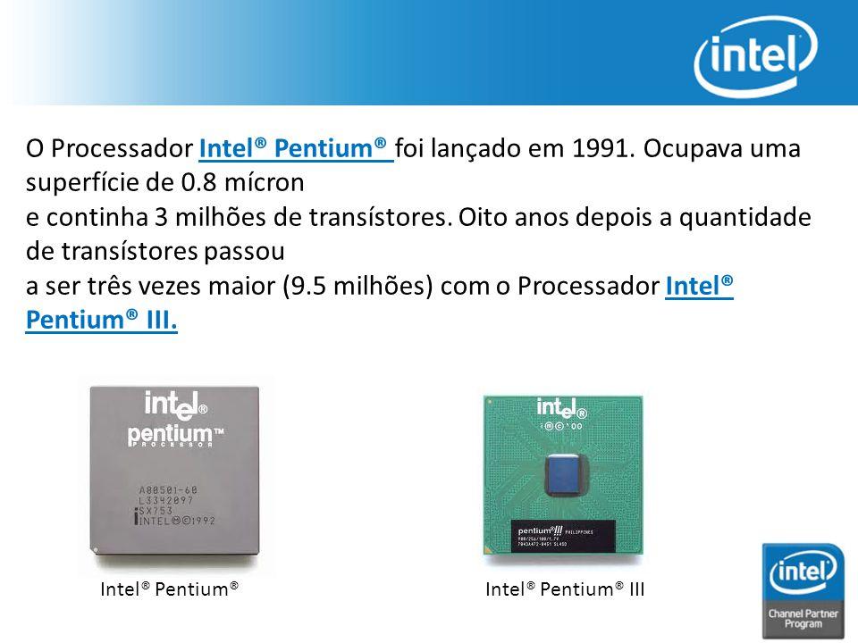O Processador Intel® Pentium® foi lançado em 1991. Ocupava uma superfície de 0.8 mícron e continha 3 milhões de transístores. Oito anos depois a quant