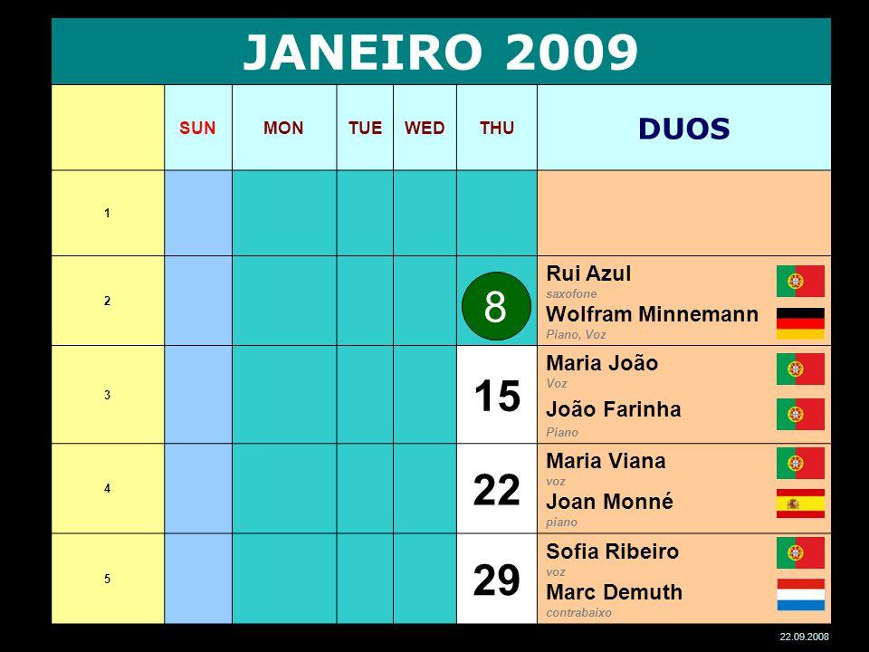 JANEIRO 2009 SUNMONTUEWEDTHU DUOS 1 2 Rui Azul saxofone Wolfram Minnemann Piano, Voz 3 15 Maria João Voz João Farinha Piano 4 22 Maria Viana voz Joan