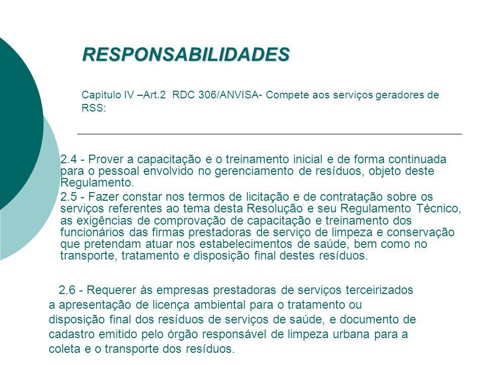 RESPONSABILIDADES RESPONSABILIDADES Capitulo IV –Art.2 RDC 306/ANVISA- Compete aos serviços geradores de RSS: 2.1. A elaboração do Plano de Gerenciame