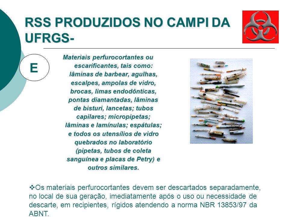 RSS PRODUZIDOS NOS CAMPI DA UFRGS RSS PRODUZIDOS NOS CAMPI DA UFRGS-Biológico Órgãos, tecidos, fluidos orgânicos, materiais perfurocortantes ou escari