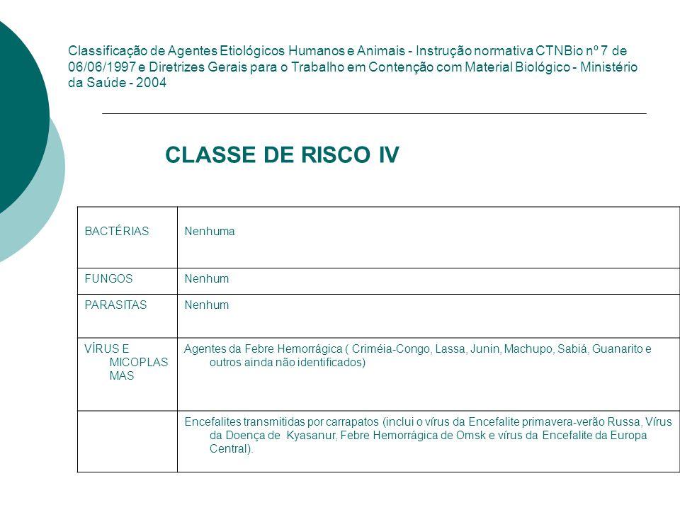 CLASSE DE RISCO IV São todos os microrganismos com relevância epidemiológica e risco de disseminação ou causador de doença emergente que se torne epid