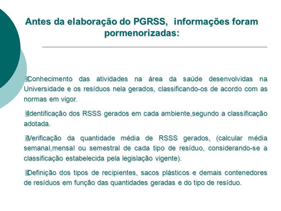 """PLANO DE GERENCIAMENTO DE RESÍDUOS DE SERVIÇOS DE SAÚDE PGRSS """" Documento integrante do processo de licenciamento ambiental, baseado nos princípio de"""