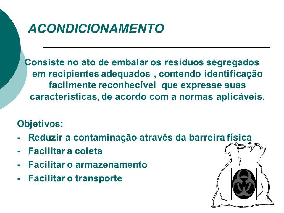 OBJETIVOS DA SEGREGAÇÃO  Minimizar a contaminação de resíduos considerados comuns;  Permitir a adoção de procedimentos específicos para cada categor