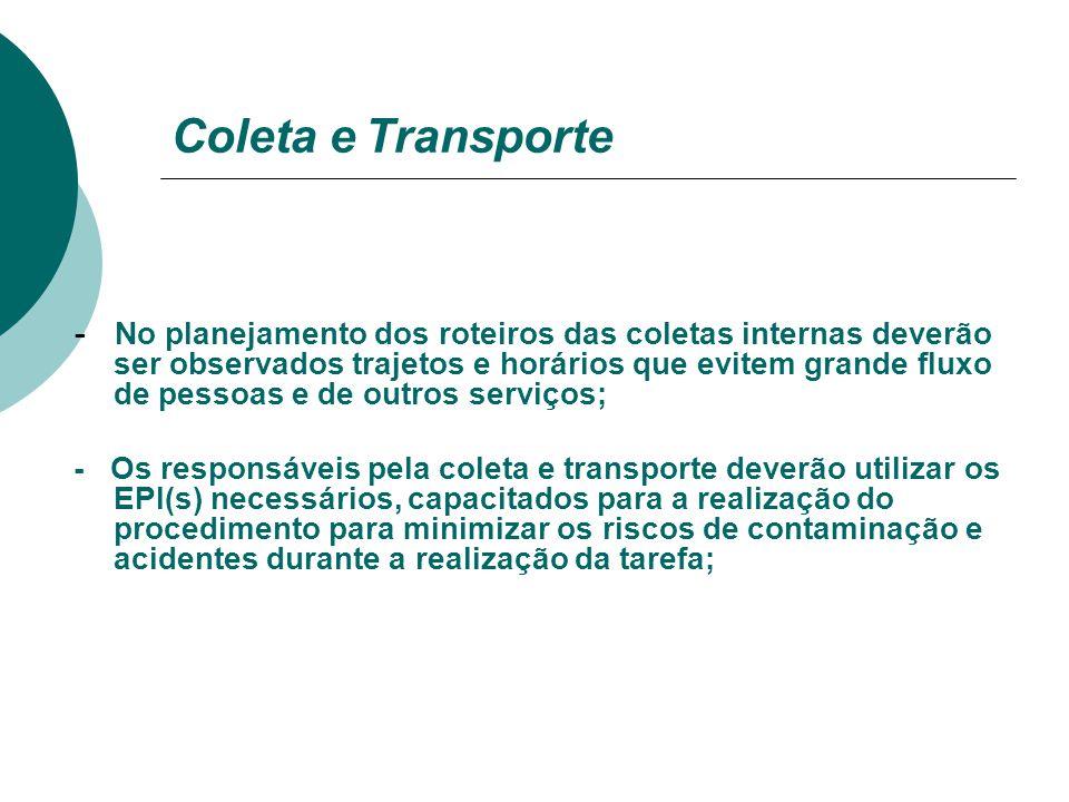 Coleta e Transporte  Coleta Interna I Consiste no recolhimento dos resíduos do local de geração até o local de armazenamento temporário(Freezer).  C