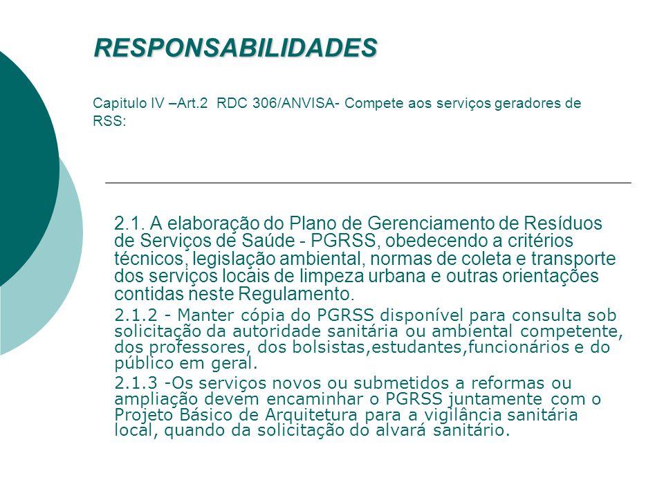 RESPONSABILIDADES Art. 3º/RDC 358/ CONAMA - Cabe aos geradores de resíduos de serviço de saúde e ao responsável legal, o gerenciamento dos resíduos de