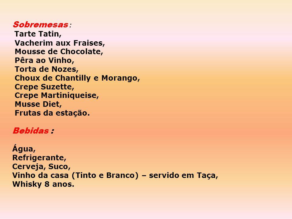Quentes: Duo de Camarão e Lagosta ao Molho Roquefort (cebola, vinho branco, roquefort, bechamel, velouté de peixe) Perdiz Assada ao Molho de Pimenta V