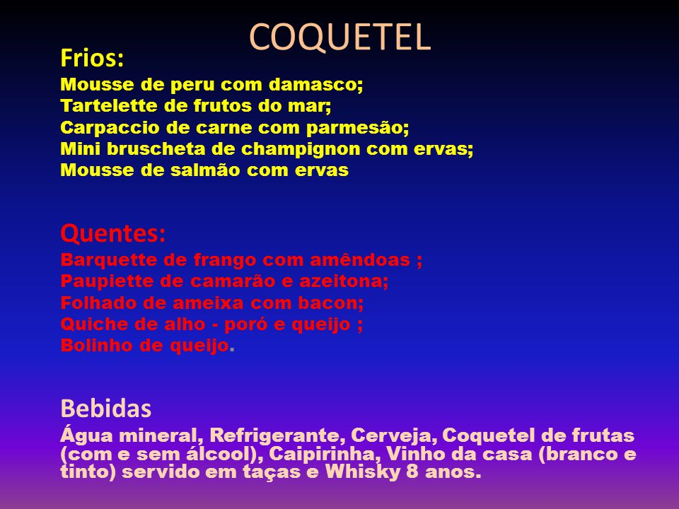 LOCAL DO COQUETEL