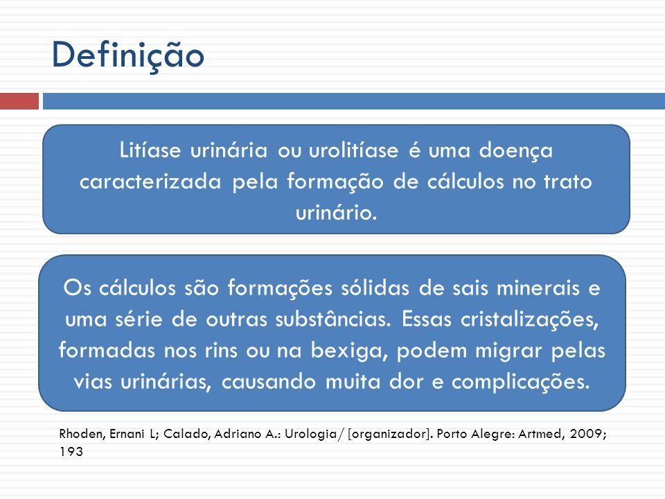 Aspectos epidemiológicos -3ª afecção mais frequente em urologia -Prevalência: 2 – 3% da população mundial -15% dos indivíduos formarão cálculo em algum momento da vida Menon M, Resnick MI.