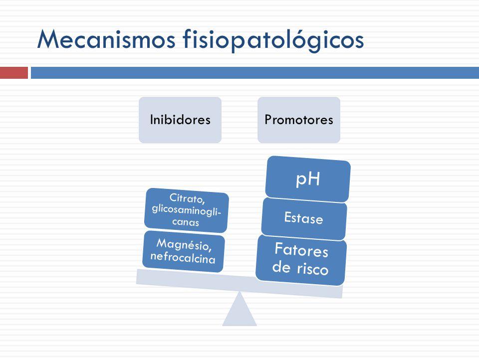 Mecanismos fisiopatológicos Urina estável Inibidores Promotores
