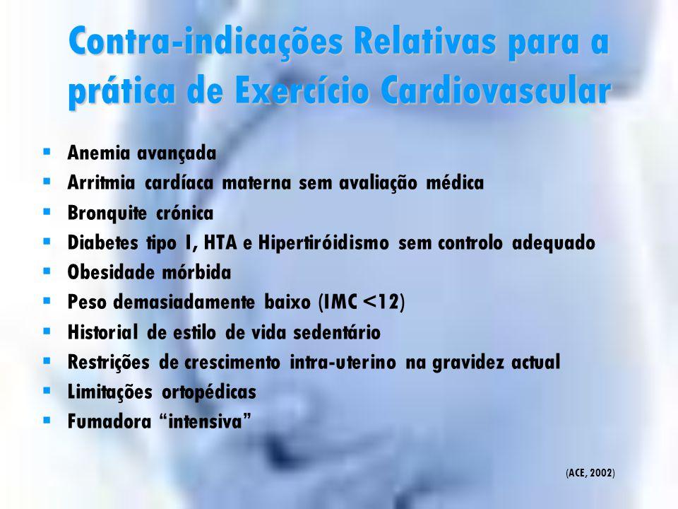 Contra-indicações Absolutas para a prática de Exercício Cardiovascular  Problemas pulmonares restritivos  Cérvix incompetente/incompleto  Multi-Ges