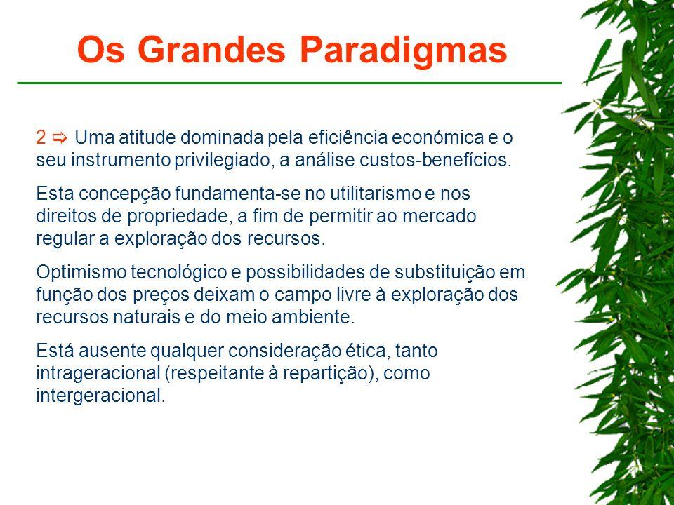 Os Grandes Paradigmas 2  Uma atitude dominada pela eficiência económica e o seu instrumento privilegiado, a análise custos-benefícios.