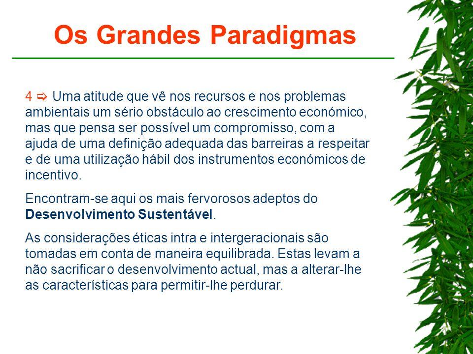 Os Grandes Paradigmas 4  Uma atitude que vê nos recursos e nos problemas ambientais um sério obstáculo ao crescimento económico, mas que pensa ser possível um compromisso, com a ajuda de uma definição adequada das barreiras a respeitar e de uma utilização hábil dos instrumentos económicos de incentivo.