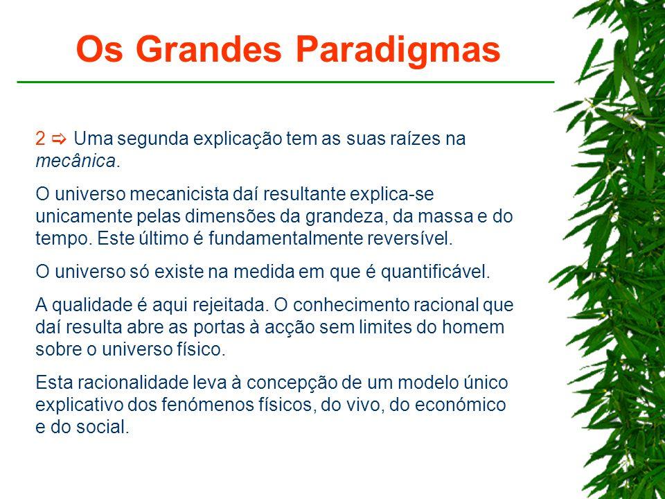 Os Grandes Paradigmas 2  Uma segunda explicação tem as suas raízes na mecânica.