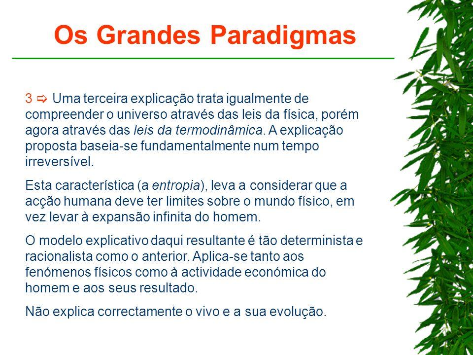 Os Grandes Paradigmas 3  Uma terceira explicação trata igualmente de compreender o universo através das leis da física, porém agora através das leis da termodinâmica.