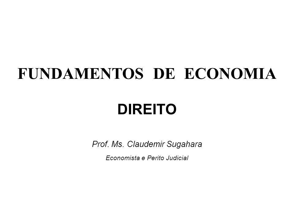 FUNDAMENTOS DE ECONOMIA DIREITO Prof. Ms. Claudemir Sugahara Economista e Perito Judicial
