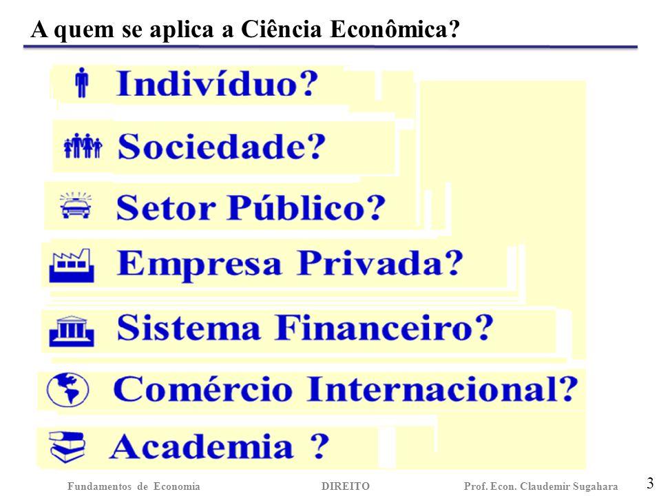 A quem se aplica a Ciência Econômica.3 Fundamentos de EconomiaDIREITO Prof.