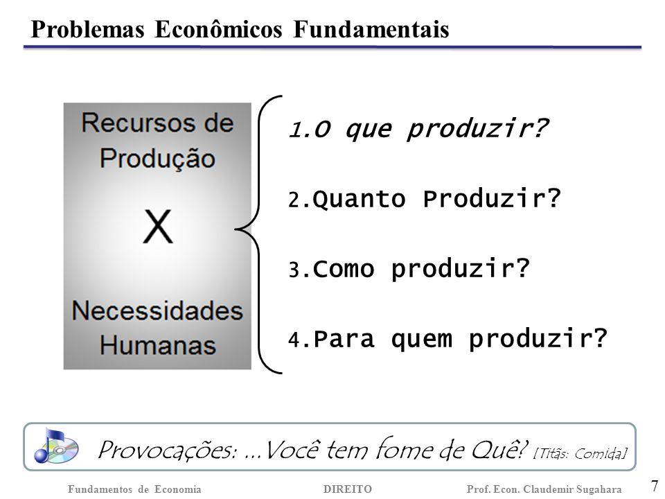 Problemas Econômicos Fundamentais 7 Fundamentos de EconomiaDIREITO Prof.